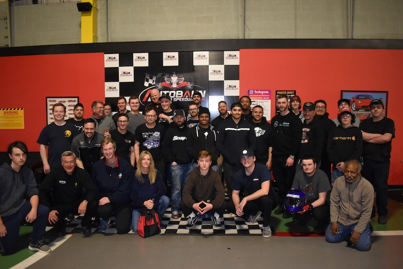 Group picture of CABA members are gokarting event