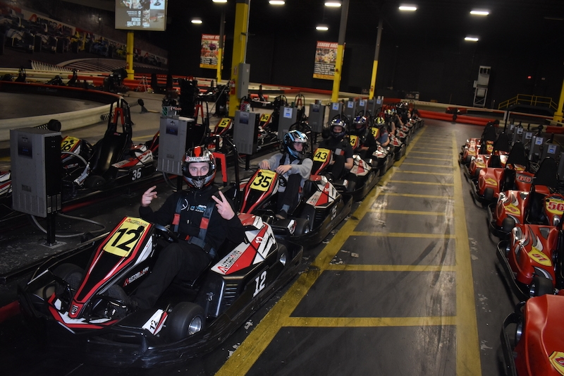 Gokarts lined up ready to race